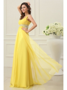 One Shoulder Yellow Empire Chiffon Rhinestone Decorate Prom Dress