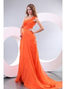 Orange Red One Shoulder Beading and Ruche Prom Dress with Court Train