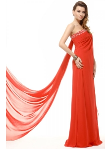 Orange Red Strapless Beading and Ruching Chiffon Prom Dress