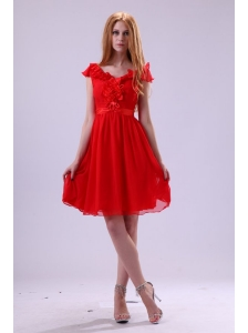 Red A-line V-neck Prom Dress with Flowers Knee-length