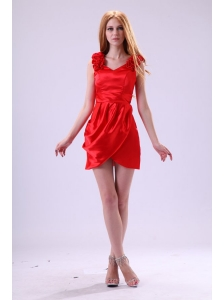 Red Column V-neck Flowers Short Prom Dress with Mini-length