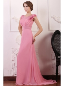 Rose Pink Empire V-neck Court Train Prom Dress with Flowers