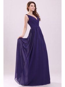 Simple Purple Empire V-neck Ruching Floor-length Chiffon Prom Dress