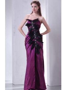 Sweetheart Column Beading and Feather Prom Dress in Dark Purple