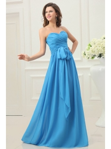 Sweetheart Empire Chiffon Ruche and Bowknot Prom Dress in Teal