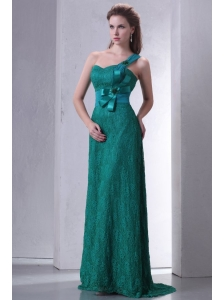 Turquoise Empire One Shoulder Lace Prom Dress with Flowers
