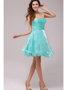 A-line Strapless Aqua Blue Organza Ruching Prom Dress