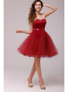 A-line Wine Red Sweetheart Beading Knee-length Prom Dress