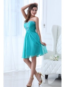 Aqua Blue Sweetheart Beaded Prom Dress with Knee-length