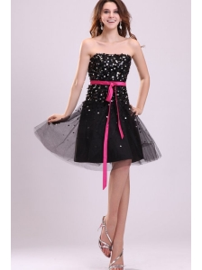 Black Strapless Prom Dress with Pink Sash and Sequins