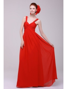 Cheap Straps Red Empire Prom Dress with Chiffon Floor-length