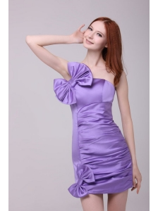 Column Lavender Strapless Bows Mini-length Prom Dress