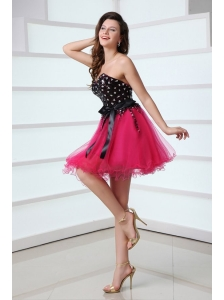 Cute Sweetheart Black and Hot Pink Prom Dress with Bowknot
