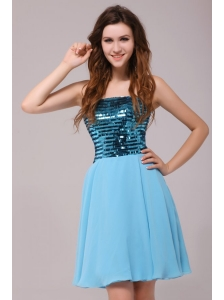 Empire Sequins Strapless Knee-length Light Blue Prom Cocktail Dress