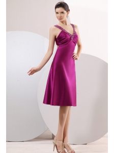 Fuchsia Beading Straps Short Prom Dress with Ruching