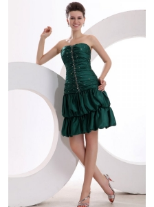 Green Column Ruching and Beading Sweetheart Prom Dress