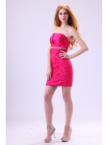 Hot Pink Column Strapless Prom Dress with Beading