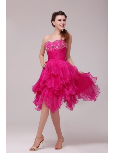 Hot Pink Sweetheart Beading and Ruffles Asymmetrical Prom Dress