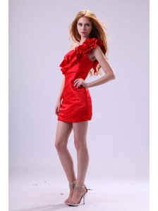 One Shoulder Red Prom Dress with Flowers Mini-length