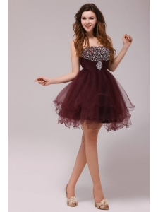 Princess Brown Beading and Ruching Tulle Prom Dress