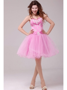 Princess Rose Pink Sweetheart Appliques Short Prom Dress