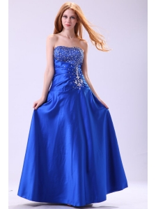 Royal Blue Prom Dress with Beading Empire Strapless