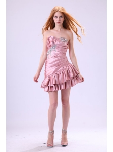 Sexy Baby Pink Cocktail Dress with Beading and Ruching