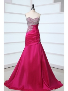 Side Zipper Beaded Sweetheart Mermaid Prom Dress in Hot Pink