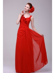 Simple Red Straps Empire Prom Dress with Flowers Chiffon