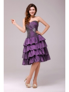 Sweetheart Beaded Prom Dress with Ruffled Layers Knee-length