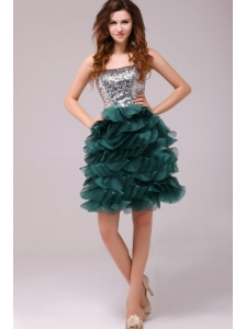 Turquoise Sequins and Ruffles A-line Tulle Prom Dress
