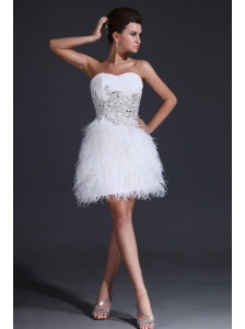 White Short Sweetheart Prom Dress with Embroidery and Beading