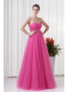 A-line Tulle Sweetheart Hot Pink Ruching Long Prom Dress