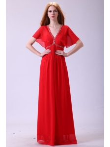 Affordable Empire V-neck Beading Chiffon Short Sleeves Prom Dress in Red