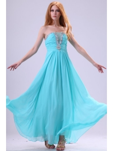 Aqua Blue Chiffon Strapless Empire Prom Dress with Beading