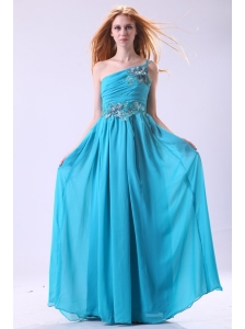 Blue Empire Appliques One Shoulder Beading Chiffon 2014 Prom Dress