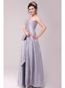Cheap Column Strapless Floor-length Grey Bowknot Prom Dress