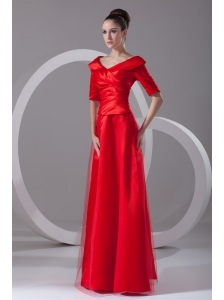 Cheap Column V-neck Red Taffeta Half Sleeves Red Ruching Prom Dress