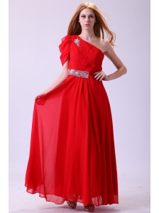 Chiffon Simple Empire One Shoulder Beading Short Sleeves Red Prom Dress