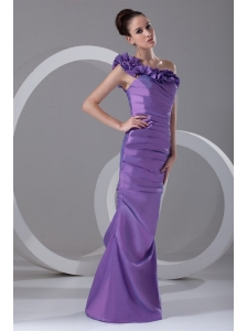 Column One Shoulder Ruching Taffeta Side Zipper Purple Prom Dress