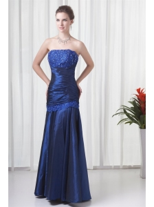 Column Strapless Navy Blue Ruching Prom Dress with Lace Up