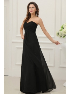 Discount Sweetheart Empire Chiffon Ruche Prom Dress in Black