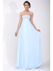 Elegant Empire Strapless Chiffon 2014 Spring Blue Prom Dress with Beading