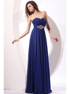 Elegant Empire Sweetheart Beading Floor-length Chiffon Blue Prom Dress
