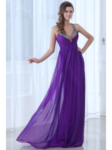 Empire Eggplant Purple Beading Straps Ruching Chiffon Prom Dress