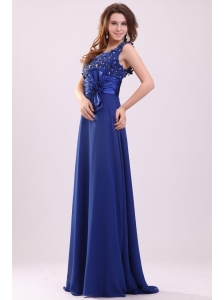Empire V-neck Blue Blue Beading and Bowknot Taffeta Prom Dress
