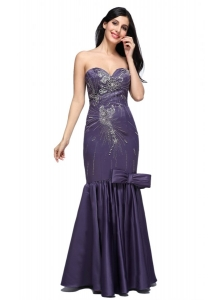 Mermaid Purple Sweetheart Bow Purple Beading Prom Dress