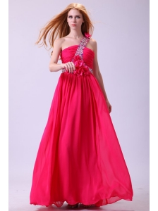 Modest Hot Pink Empire One Shoulder Floor-length Chiffon Prom Dress
