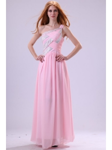 Pretty Empire One Shoulder Floor-length Pink Beading Chiffon Prom Dress