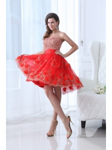 Red A-line Sweetheart Knee-length Tulle Prom Dress with Beading and Hand Made Flowers